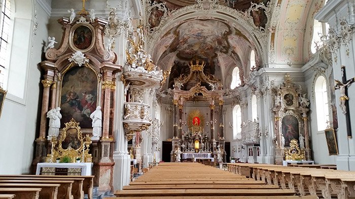 The Wilten Basilica, Innsbruck, Austria and the Bon Alpina Hotel